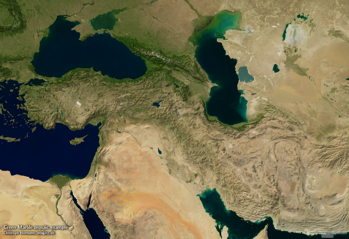 The Green Marble Global Mosaic Imagicode - Middle east satellite map