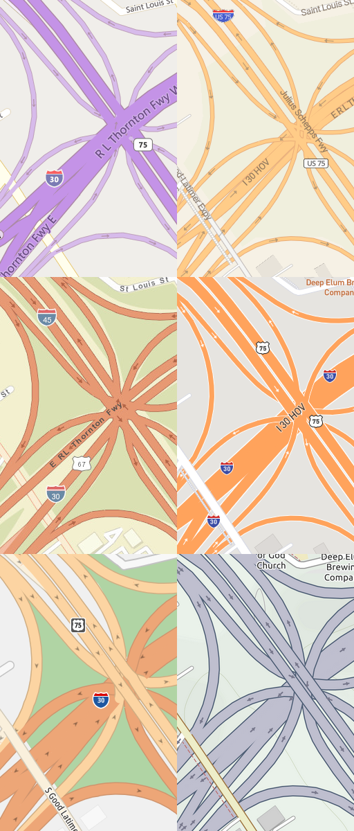Same example in other maps: left side from top: Bing, Esri, TomTom, right side from top: Maptiler, Mapbox, Thunderforest