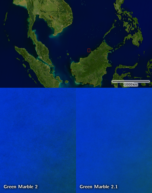 Contrast enhanced visualization of the noise level reduction in depicting open ocean areas